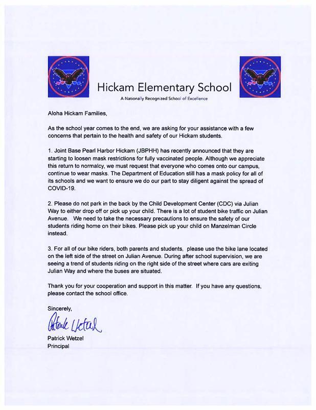 Principal letter to parents