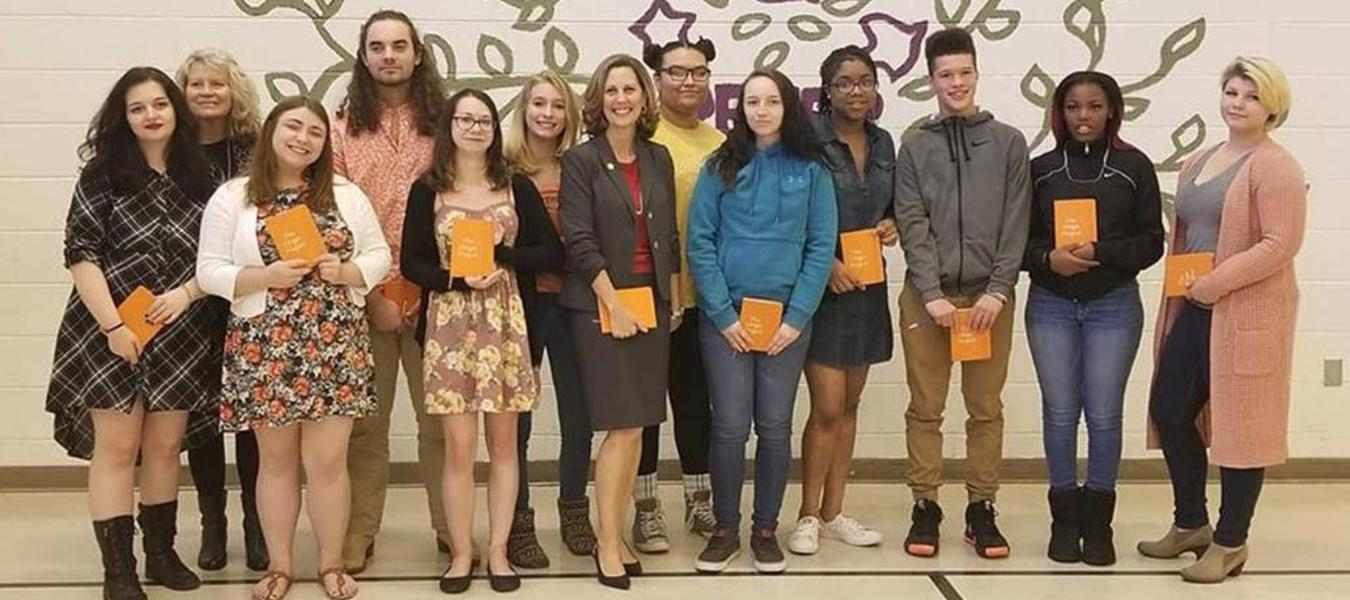 VHS Students representing our Region by reading their own originial poetry during the 'The Origin Project' at Peter Paul Development Center in Richmond.  First Lady of Virginia, Pamela Northam is pictured with our students.