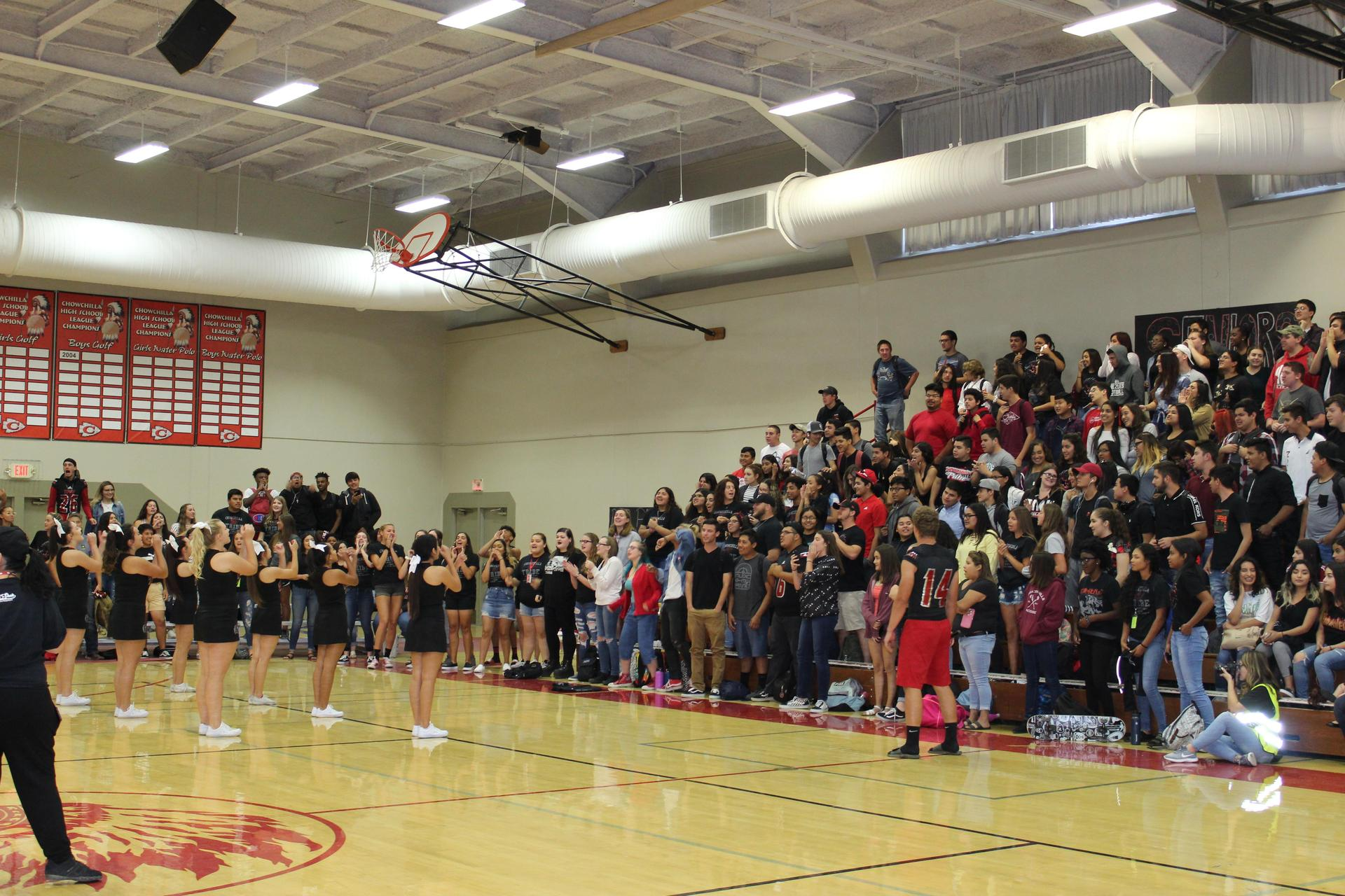 Students having fun at the blackout rally