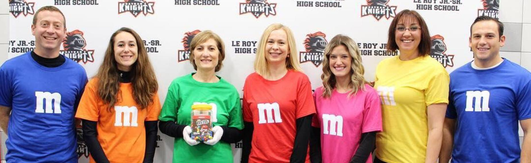 Guidance Department dressed up as M & M's on Halloween