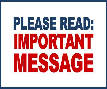 Please Read Important Message