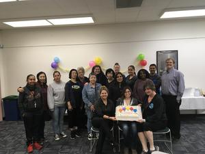 The CUHSD Food Services Department celebrating their milestone of serving 2,000 meals a day