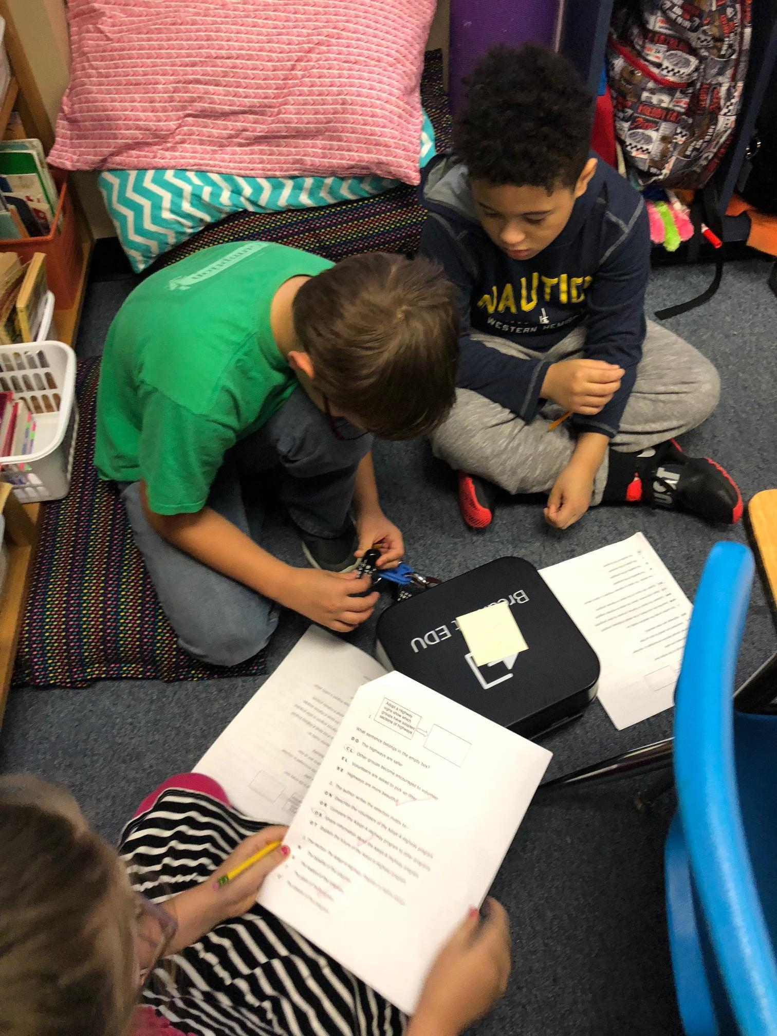Blue Haze Elementary third graders recently used Breakout Educational Kits to make learning reading passages fun.