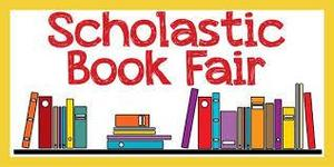 books with scholastic book fair above them