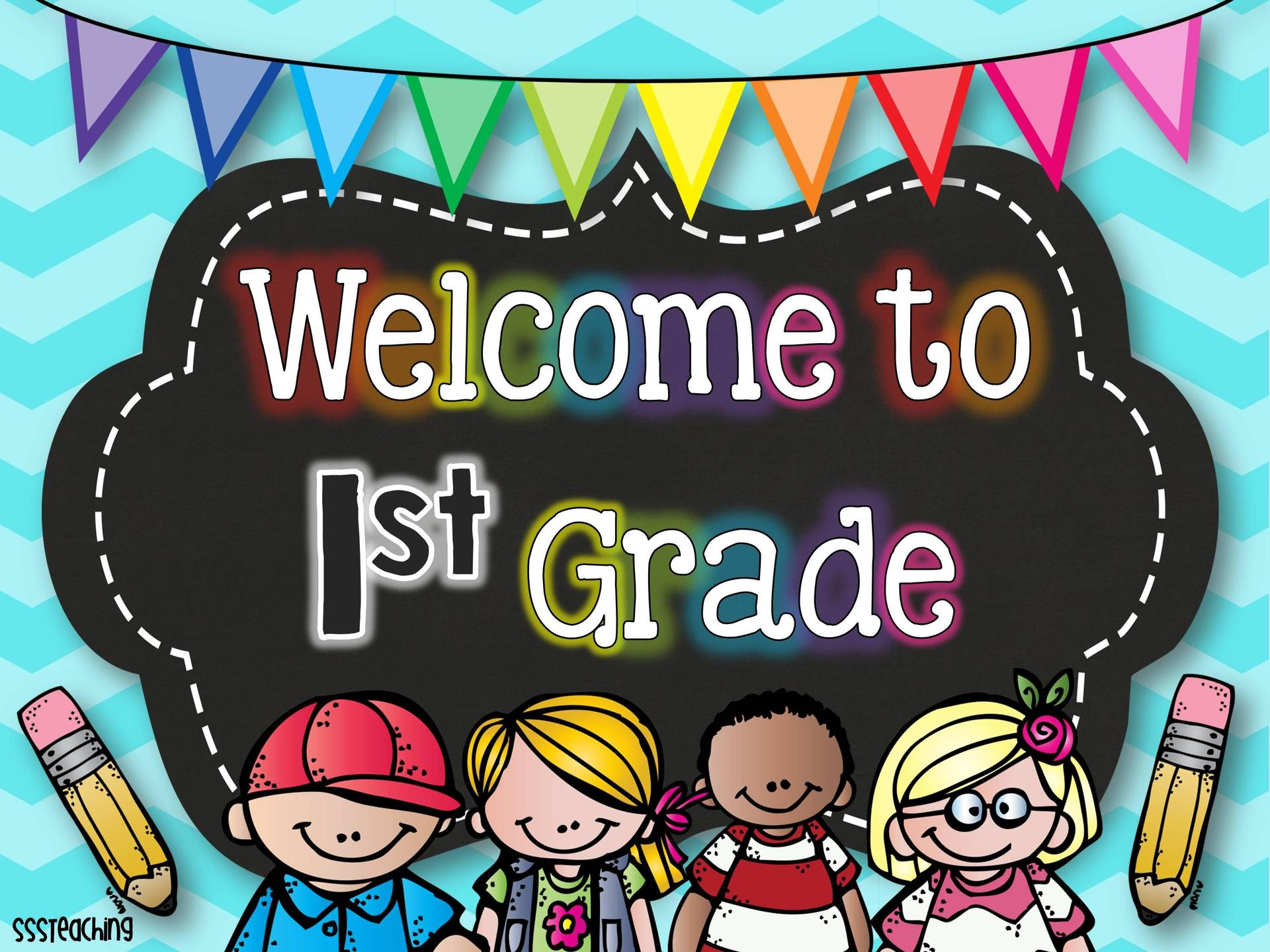 welcome to first grade sign with students