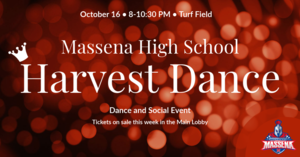 Red background with text announcing 2021 Harvest Dance
