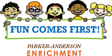 Different cartoon kids around Enrichment Classes banner