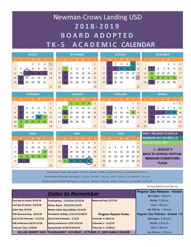 2018-19 Academic Calendar K-5