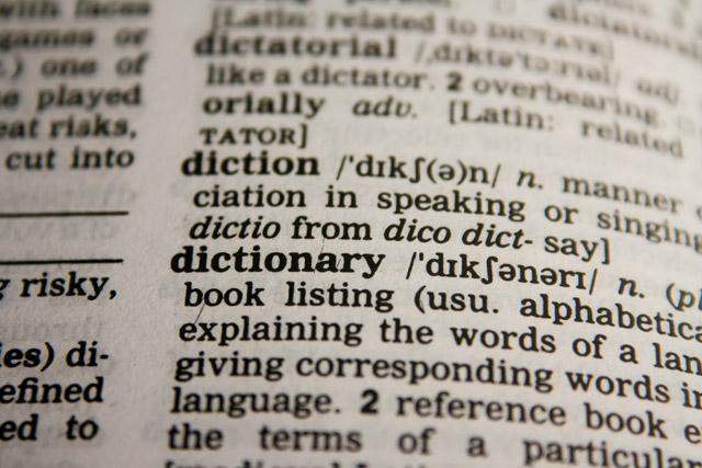 """Close-up of the definition of """"dictionary"""" on a page, image from www.pdpics.com"""