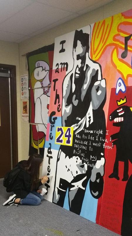 Black History Month mural at Central Valley High School