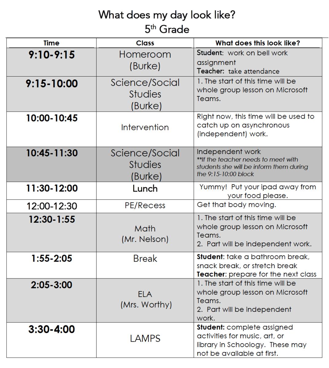 students schedule