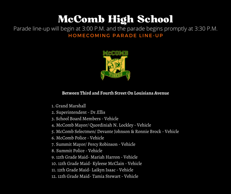 McComb High School Homecoming Parade Line-Up News 2021-2022