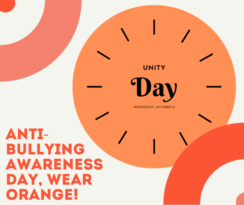 Don't forget to wear orange this Wednesday, October 21st for Unity Day. Featured Photo
