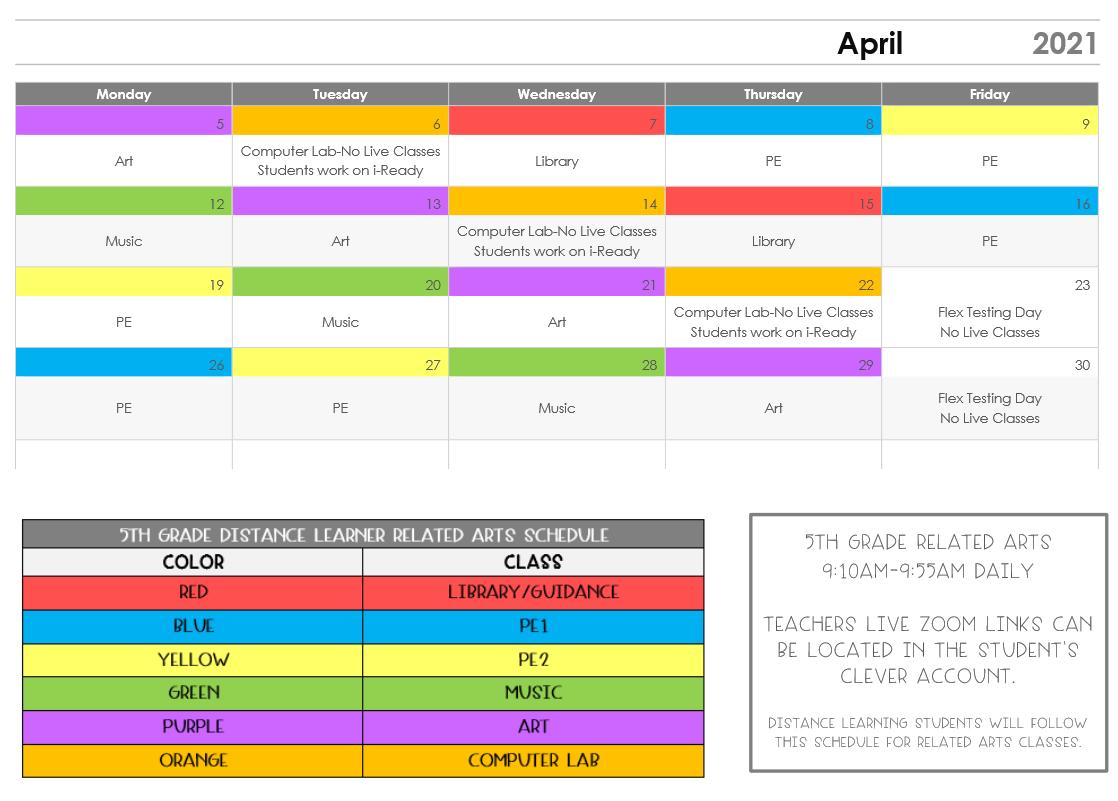 April Related Arts Calendar