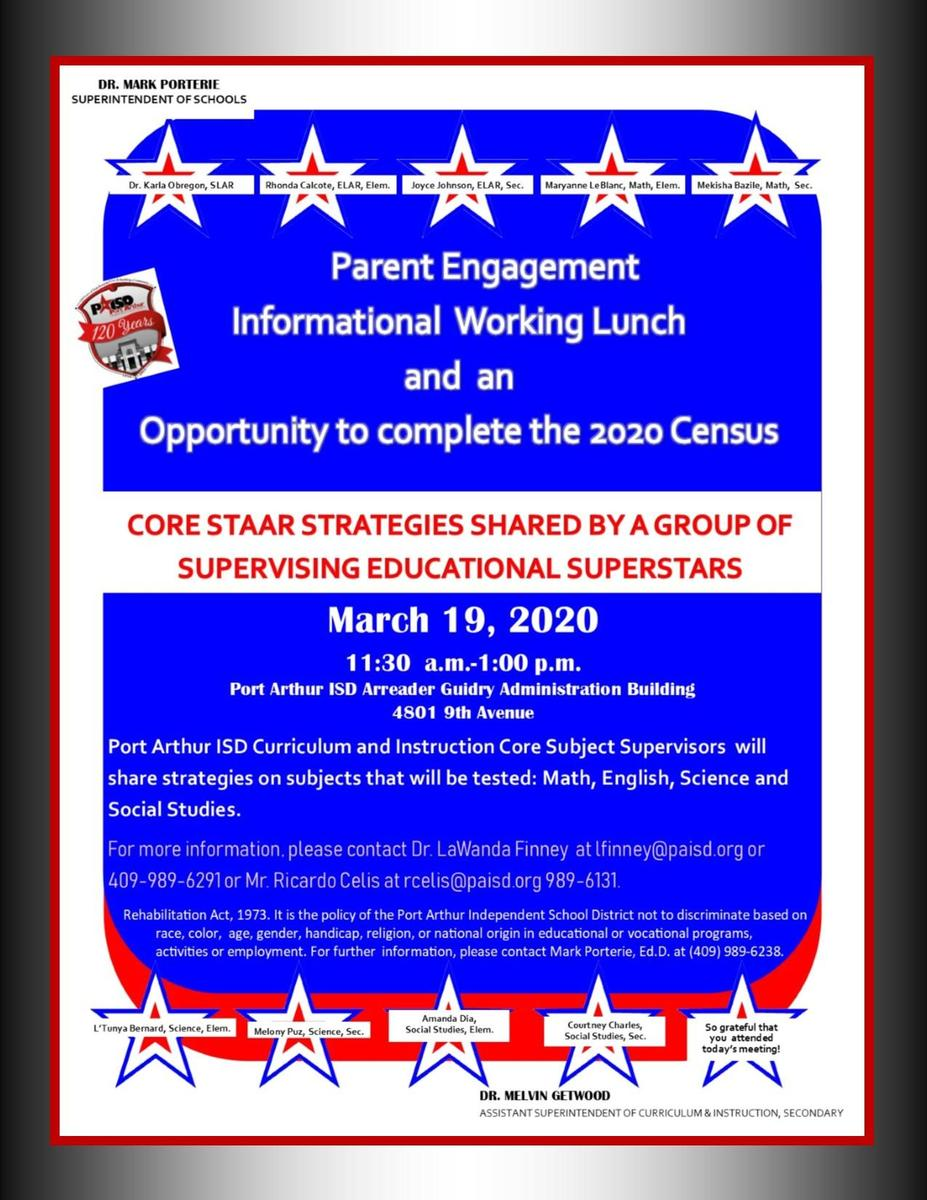 March 19, 2020 Parent Working Lunch!