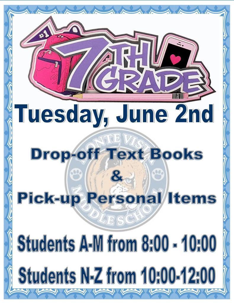 7th grade June 2nd Book drop off