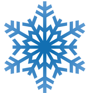 the image is of a blue snowflake in clipart style. The snowflake has 12 branches and each branch has 2 or 4 more branches in an alternating pattern.