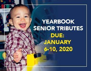 A flyer explaining that Senior Tribute photos (baby photos of current seniors) will be accepted January 6th-10th