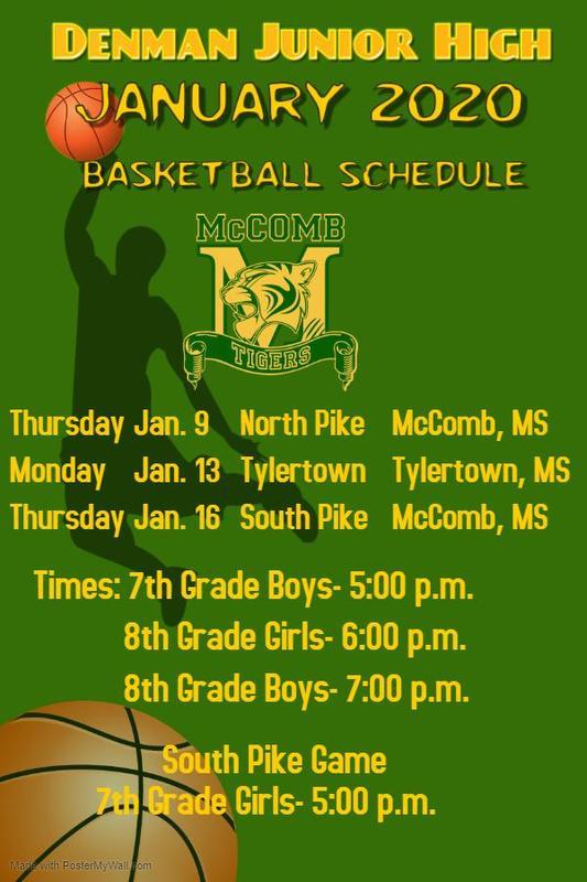 Denman Junior High School remaining basketball schedule 2020  #ItsComeBackTime