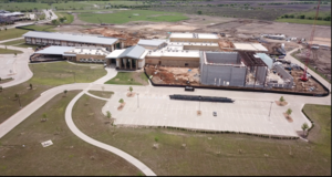 aerial footage of construction site