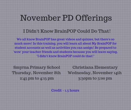 November PD Offerings