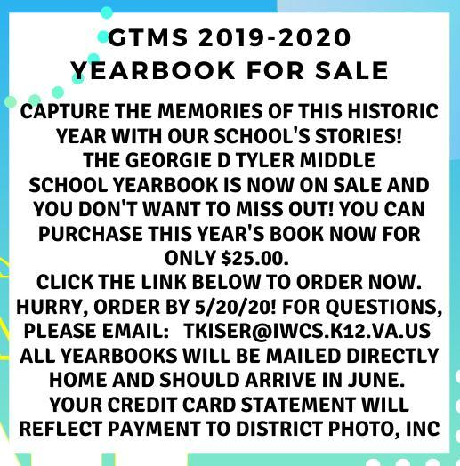 GTMS 2019-2020 Yearbooks on Sale Now