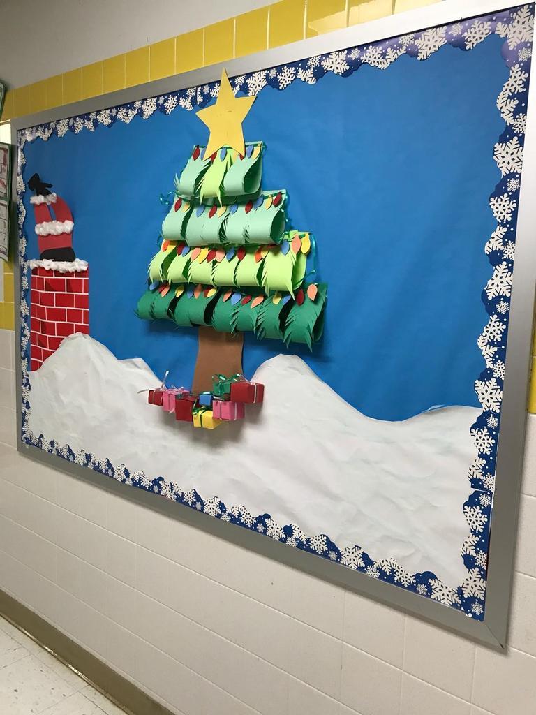 christmas tree with santa going down chimney bulletin board