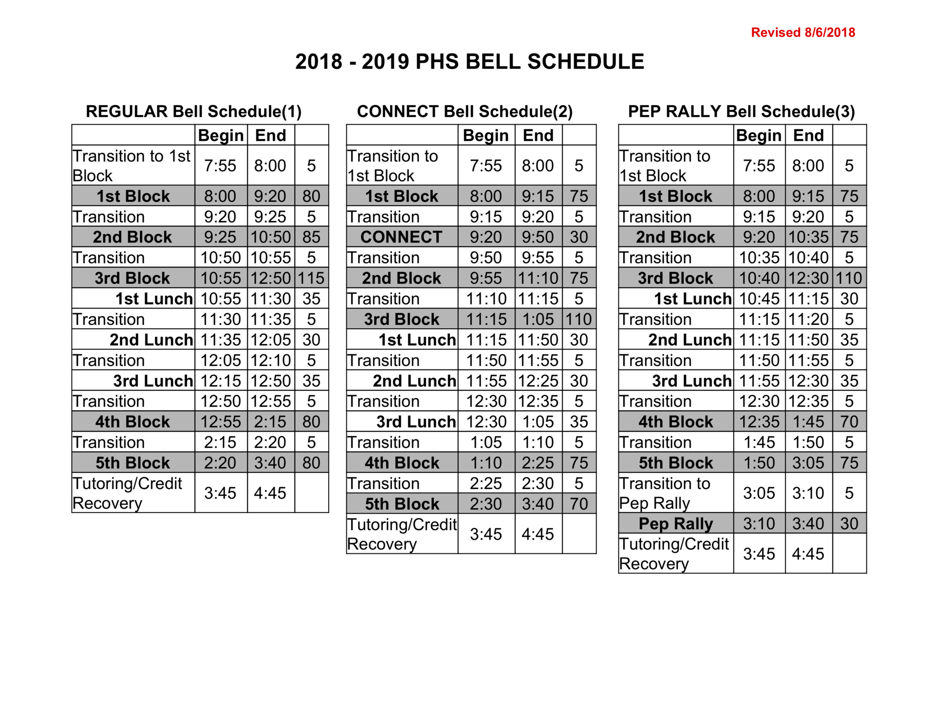 2018-2019 Bell Schedules