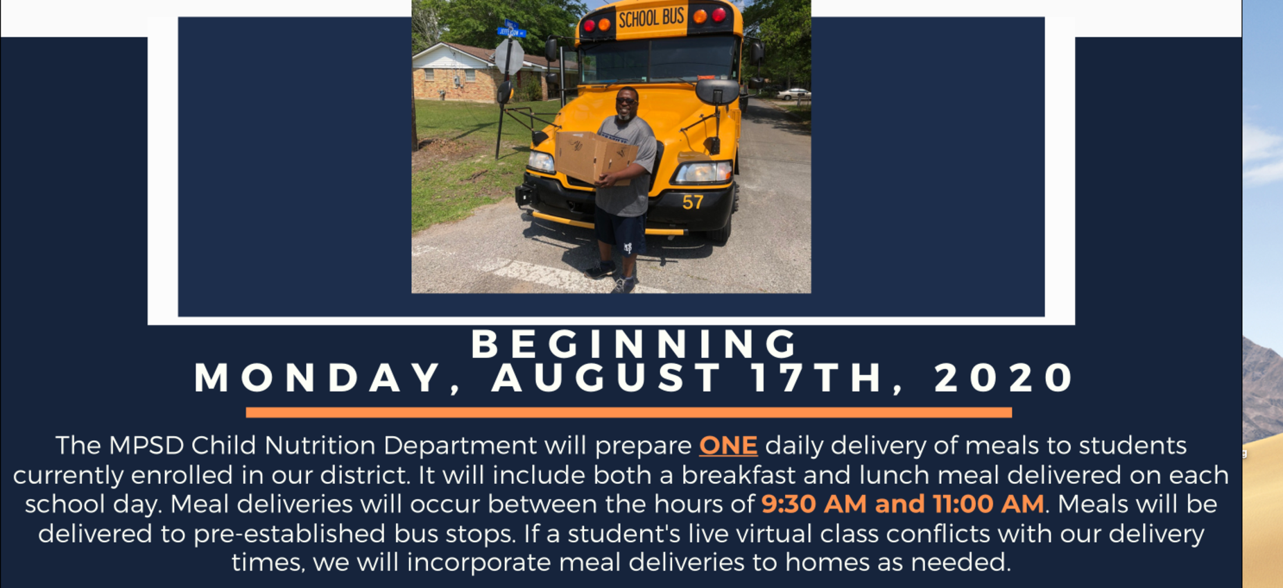 Meal deliveries will begin Monday, August 17th.