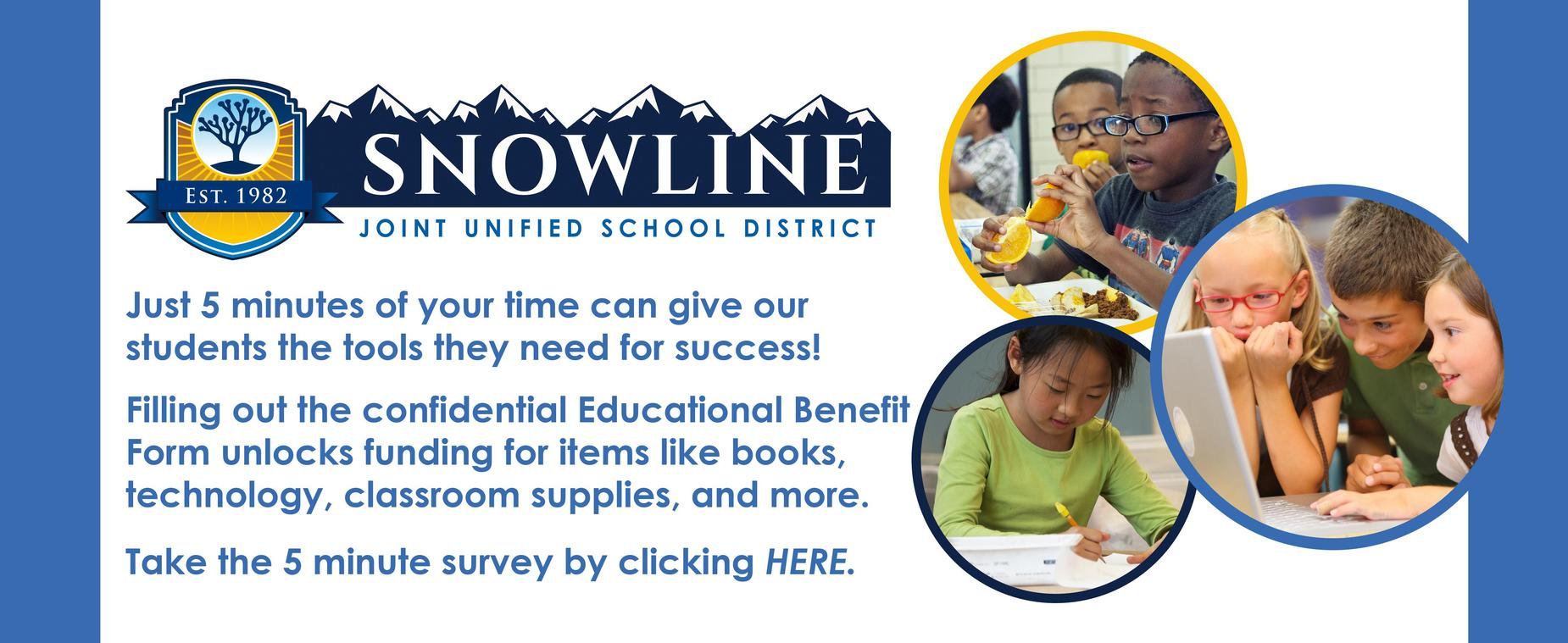 Educational Benefit Form - Click to complete the 5 minute form for school funding
