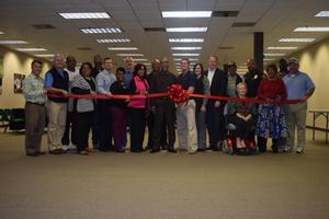 McComb School District Partners In Education (PIE) joins Superintendent for Mall Space Ribbon Cutting.
