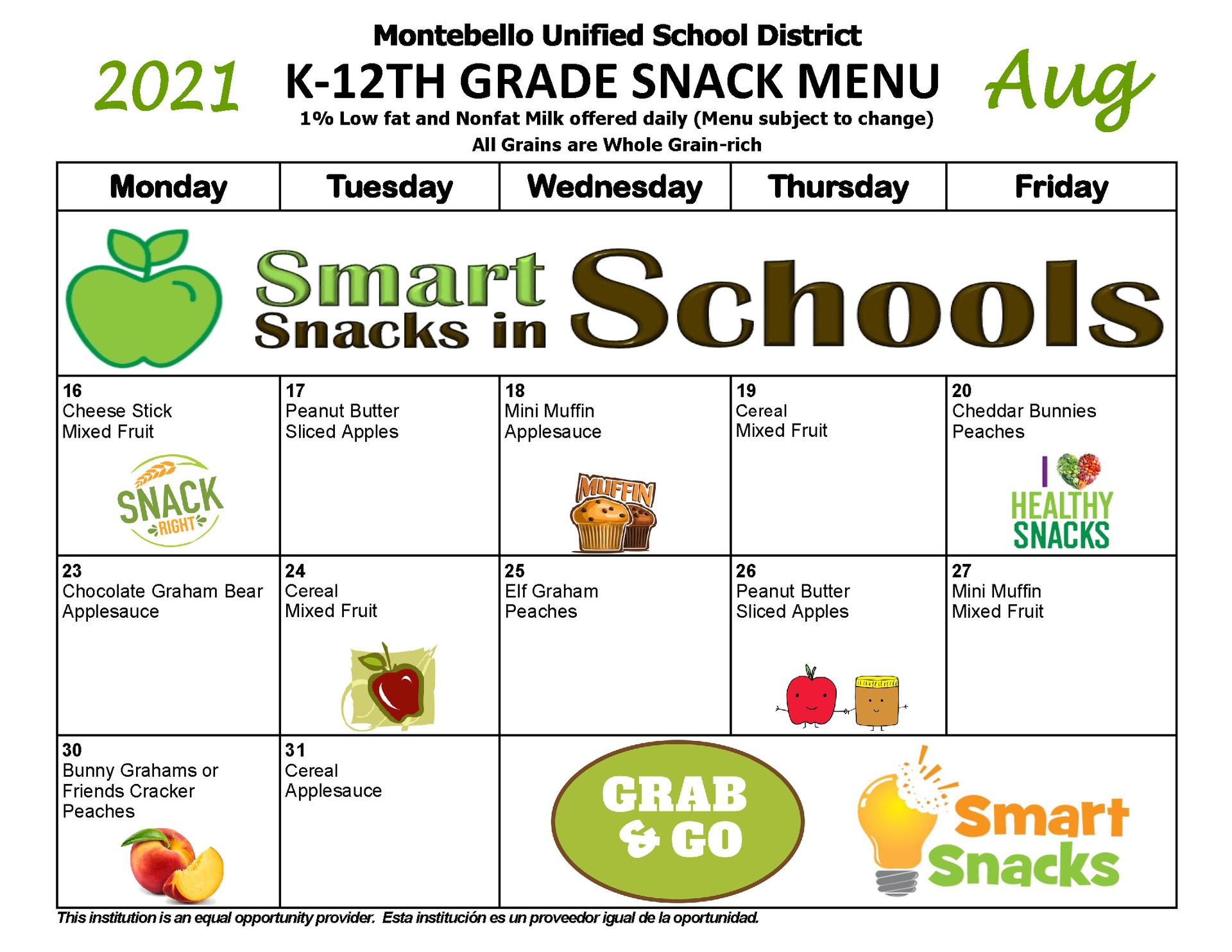 August K-12 Snack Menu