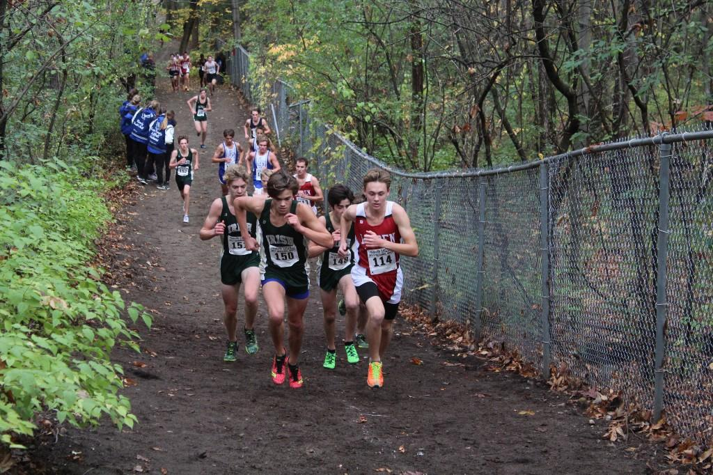 Cross country runners racing up a hill
