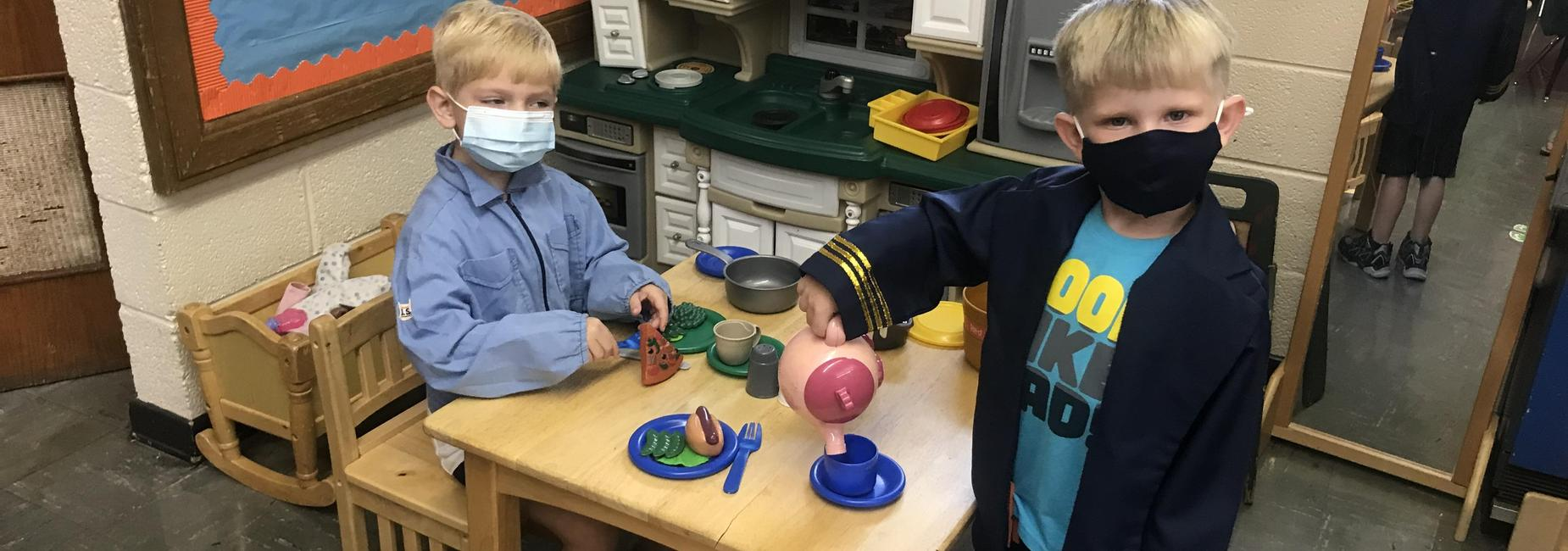 Sugar Grove Elementary Students playing in home center station