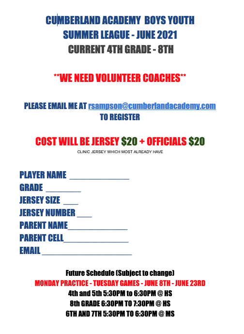 Boys Youth Summer Basketball League - June 2021 Featured Photo