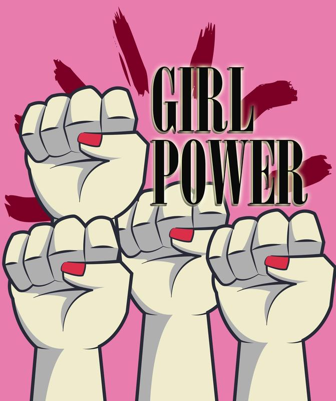 Illustration of 4 female fists in the air with the caption Girl Power