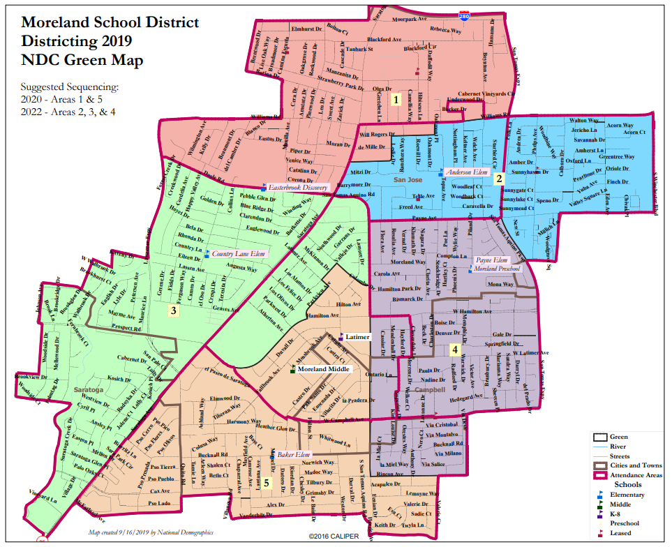 Proposed Map 1: National Demographics Corporation Green Map Option for Moreland School District By-Trustee CVRA Process