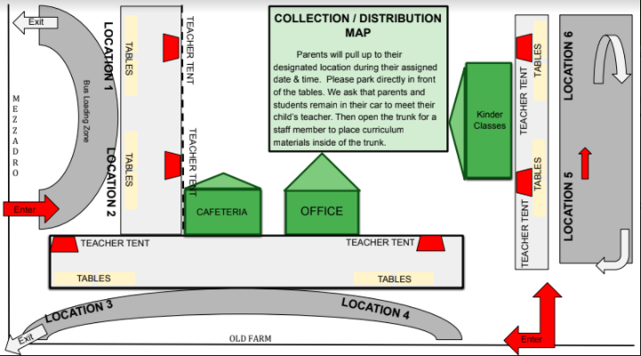 Collection Map - Ms. Johanson will be at location 3