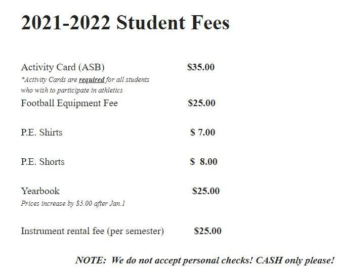 Student Fees for the 2021-22 School Year Thumbnail Image