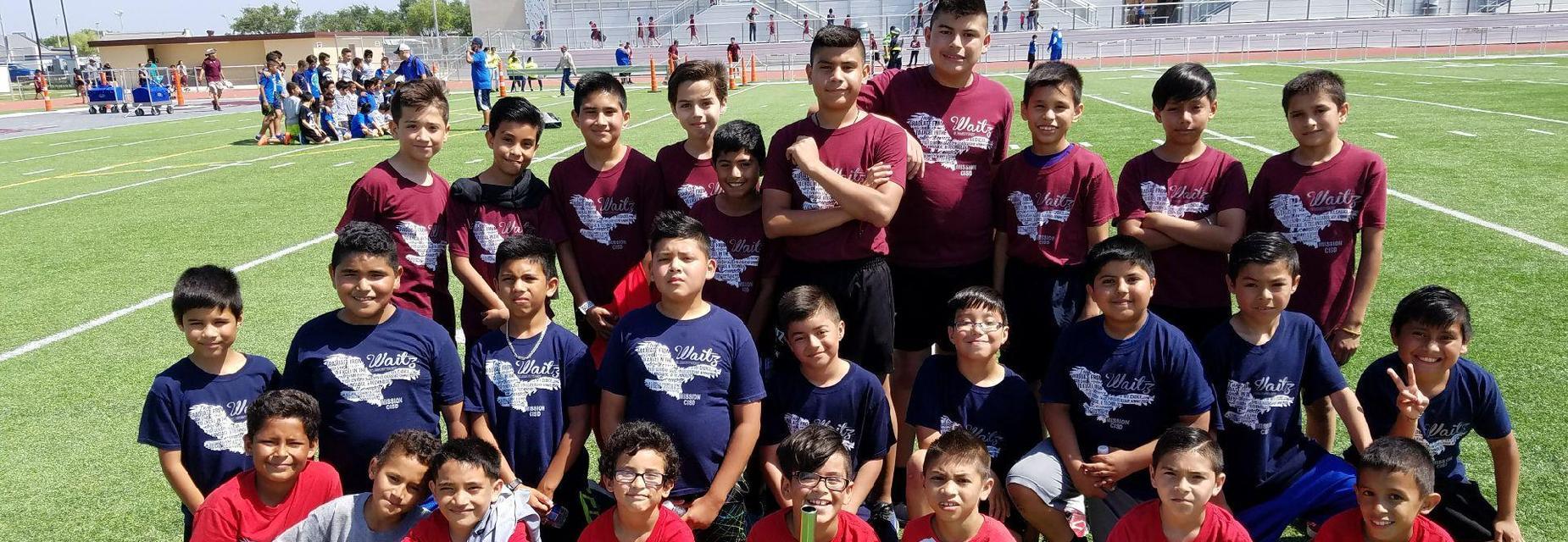 Boys track team at meet