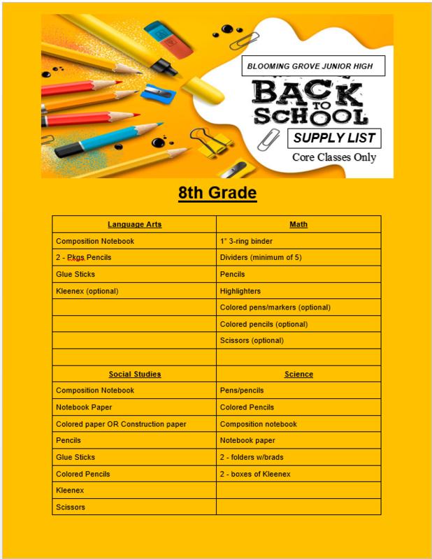 Core Classes Supply List Thumbnail Image