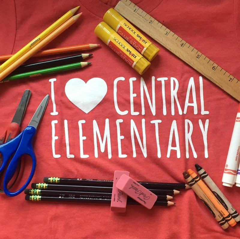 Central t-shirt and school supplies