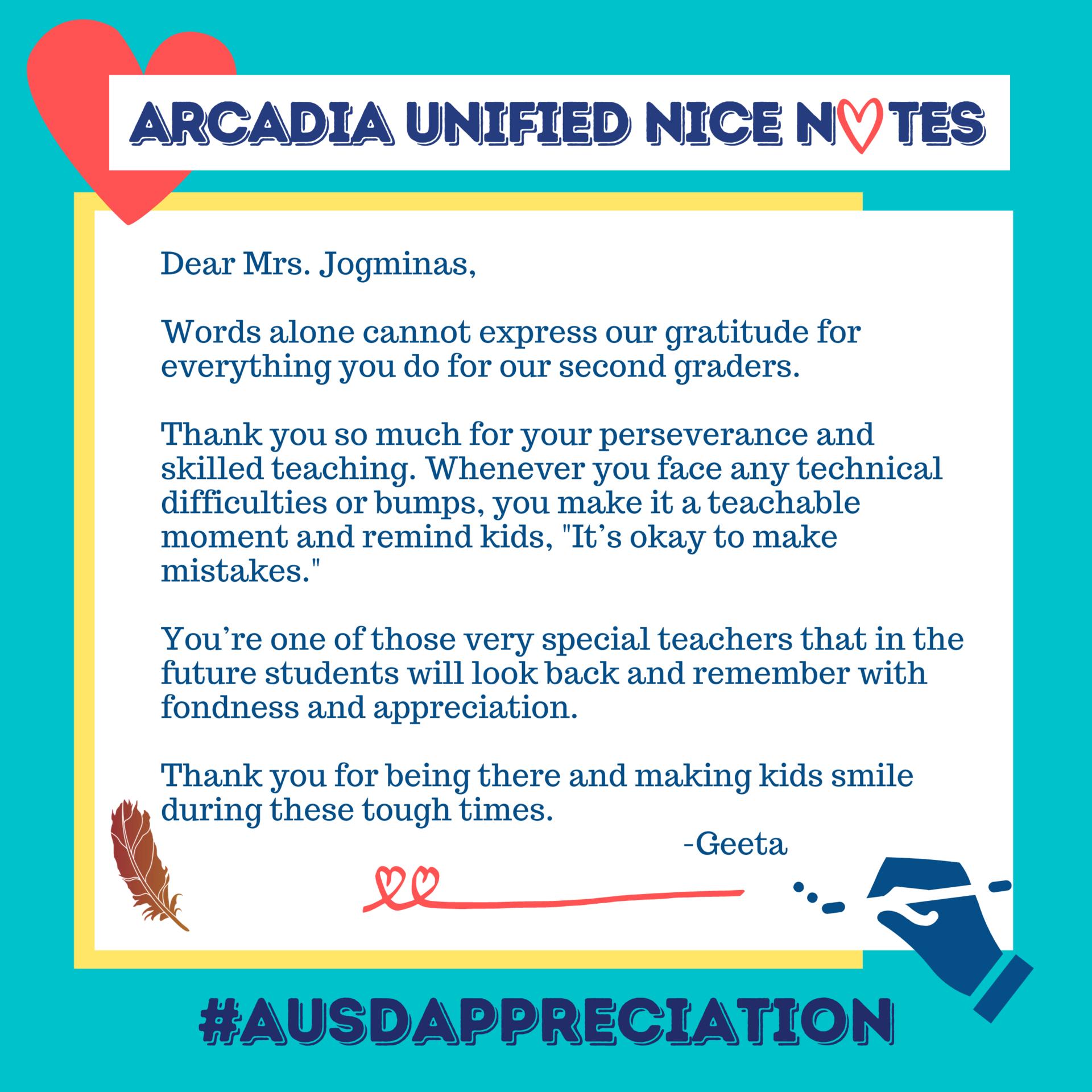 Arcadia Unified Nice Note Image