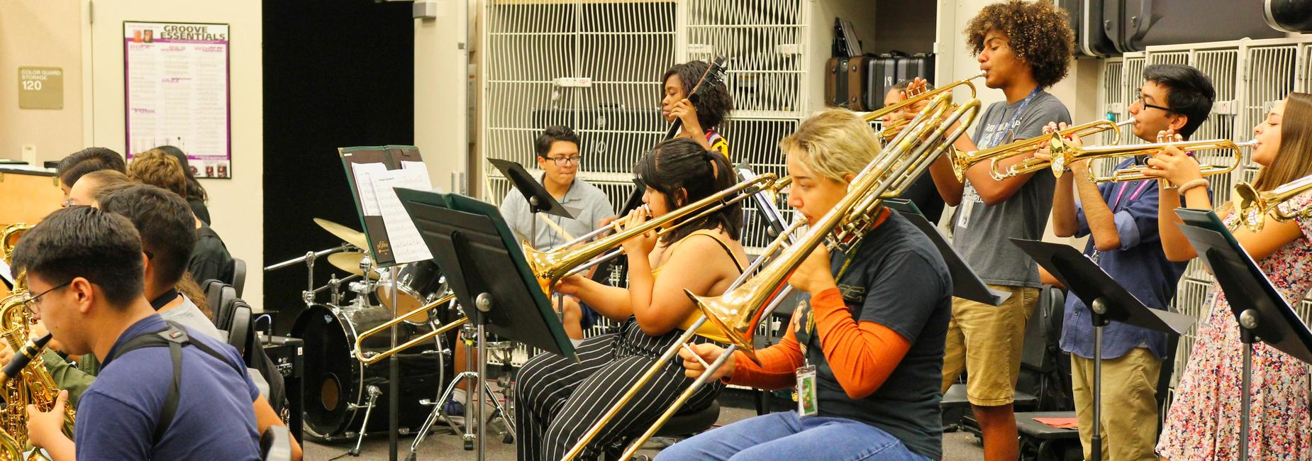 Tahquitz High school band practicing