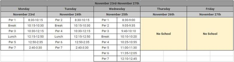 Thanksgiving week bell schedule