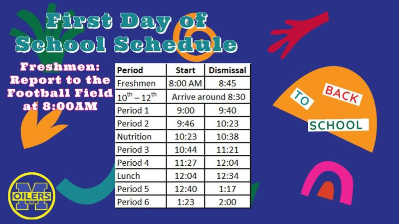 first day of school schedule