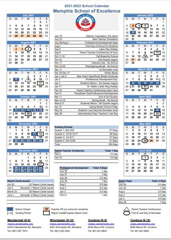 MSE 2021-2022 School Calendar