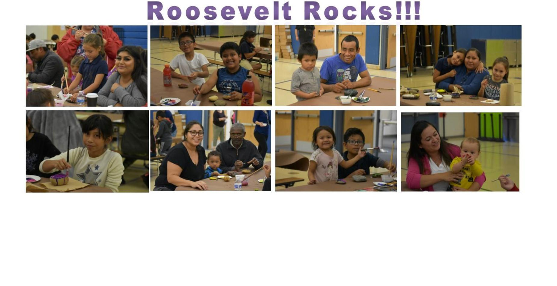 Roosevelt Rocks!  Pictures of kids painting rocks with their parents.