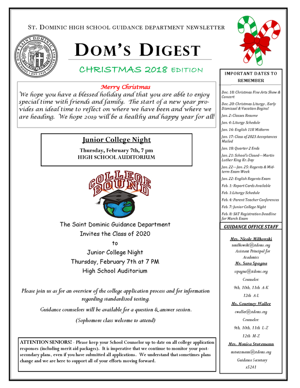 Dom's Digest - Guidance Department Newsletter (Christmas 2018 Edition) Featured Photo