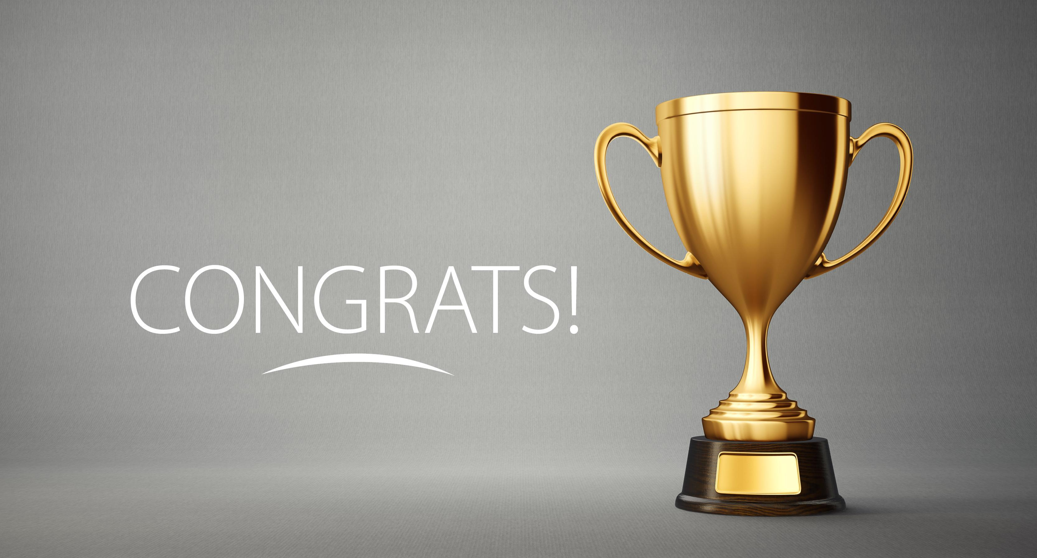 Image of a gold trophy with text that reads: CONGRATS!